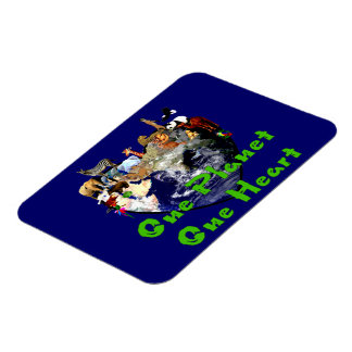 One Planet One Heart Rectangular Photo Magnet