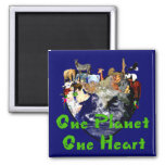 One Planet One Heart Refrigerator Magnet
