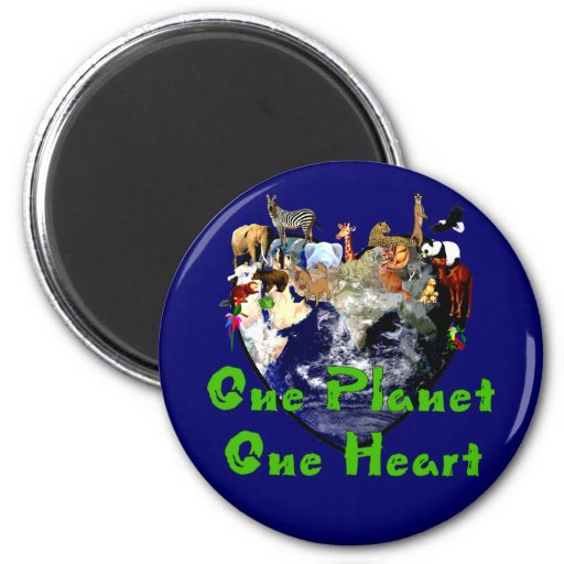 One Planet One Heart Refrigerator Magnets