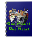 One Planet One Heart Spiral Notebook