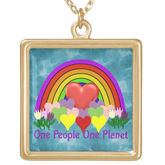 One Planet One People Gold Plated Necklace