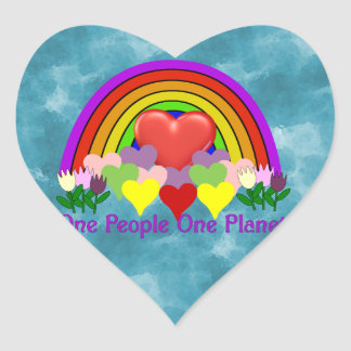 One Planet One People Heart Sticker