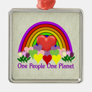 One Planet One People Metal Ornament