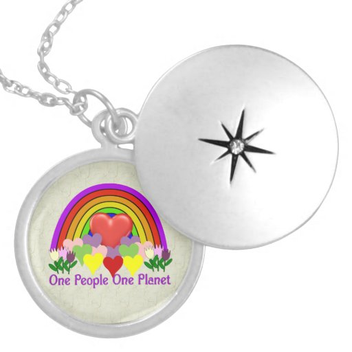 One Planet One People Round Locket Necklace