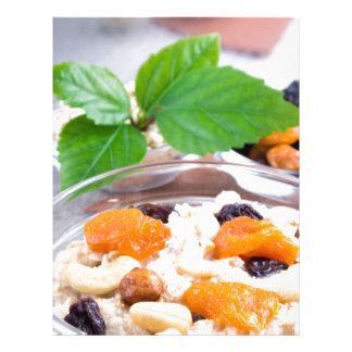 One portion of oatmeal with fruit and berries letterhead