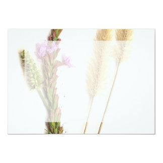 "One purple green plant and a fuzzy seedhead 5"" x 7"" invitation card"