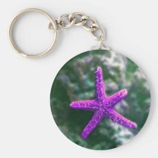 One Purple Starfish Keychain