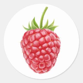 One raspberry classic round sticker