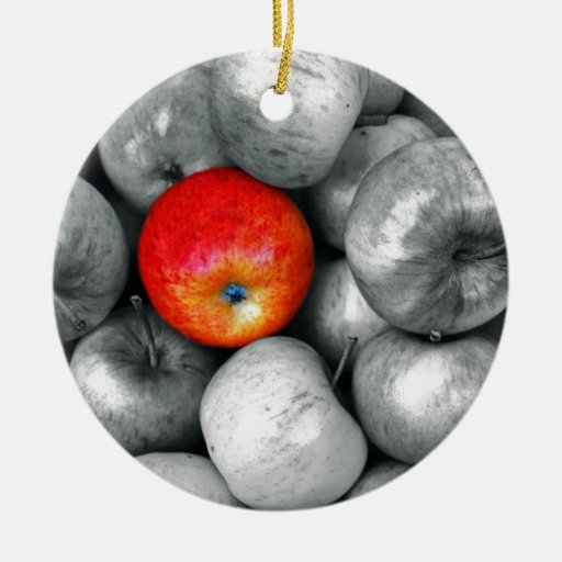 One Red Apple Double-Sided Ceramic Round Christmas Ornament