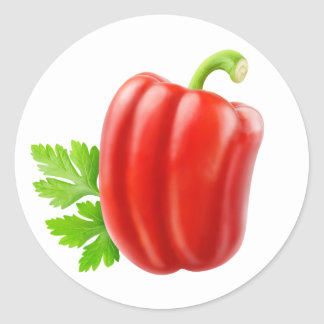 One red bell pepper classic round sticker