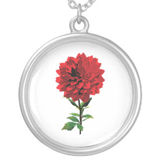 One Red Dahlia Round Pendant Necklace