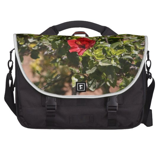 One red flower on green bush laptop computer bag