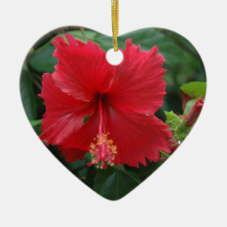 One red hibiscus ceramic ornament