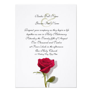 One Red Rose 5.5x7.5 Paper Invitation Card