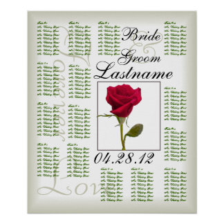 One Red Rose Wedding Guest Seating Chart Poster
