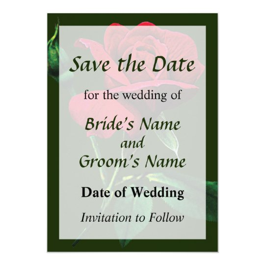 One Red Rosebud Save the Date Card