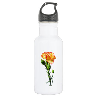 One Red-Tipped Yellow Carnation Stainless Steel Water Bottle