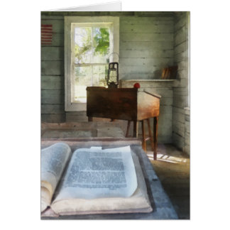 One Room Schoolhouse with Book Greeting Card