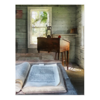 One Room Schoolhouse with Book Postcard