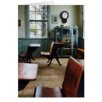 One Room Schoolhouse With Clock Greeting Card