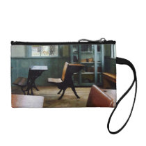 One Room Schoolhouse With Clock Change Purse