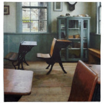 One Room Schoolhouse With Clock Cloth Napkin
