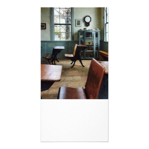 One Room Schoolhouse With Clock Photo Card