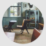 One Room Schoolhouse With Clock Classic Round Sticker
