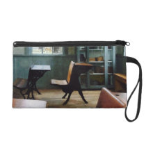 One Room Schoolhouse With Clock Wristlet Purse