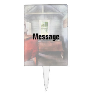 One Room Schoolhouse with Hurricane Lamp Rectangle Cake Pick