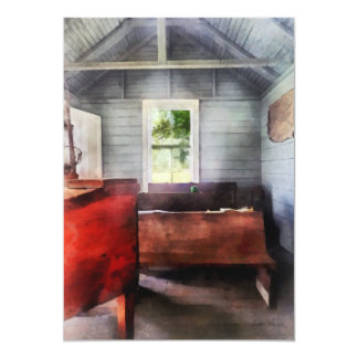 One Room Schoolhouse with Hurricane Lamp Card