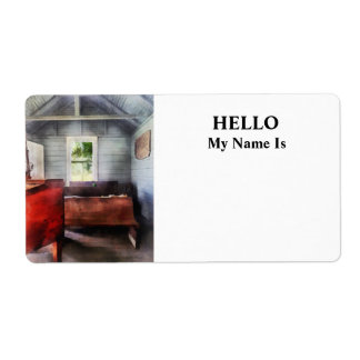 One Room Schoolhouse with Hurricane Lamp Label