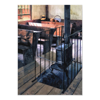One Room Schoolhouse With Stove Card