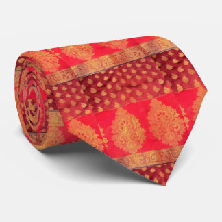 One Sari Tie Red and Gold Added Fabric to back