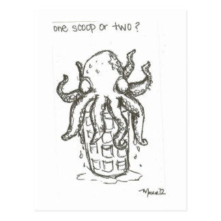 One Scoop or Two? Octopus Ice Cream Postcard