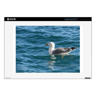 """One seagull floating on the sea surface 15"""" laptop decal"""