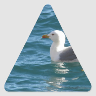 One seagull floating on the sea surface triangle sticker