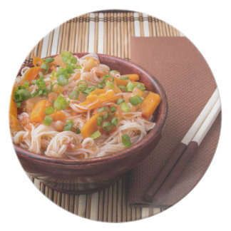 One serving of rice vermicelli hu-teu dinner plate