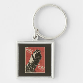 One Shall Stand (Bot Fists) Silver-Colored Square Keychain