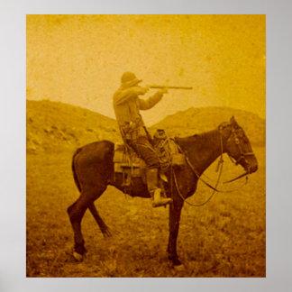 One Shot on Horseback Vintage Sepia Poster