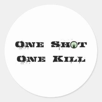 One Shot, One Kill Classic Round Sticker