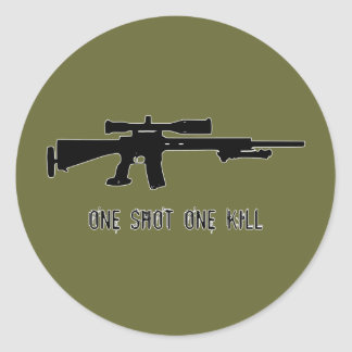 One Shot One Kill Classic Round Sticker