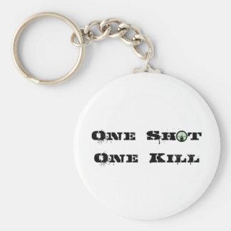 One Shot, One Kill Basic Round Button Keychain