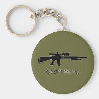 One Shot One Kill Basic Round Button Keychain
