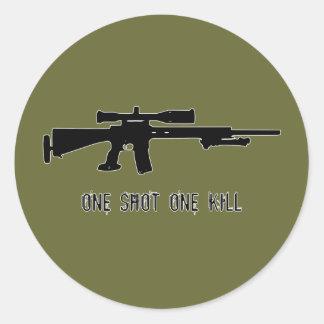 One Shot One Kill Round Stickers