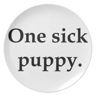 One sick puppy dinner plate