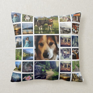 One Side 27 Instagram Photo Collage Throw Pillow