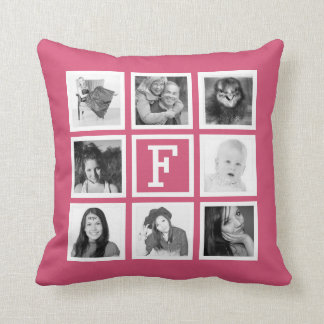 One Side 8 Instagram Pics with Monogram Throw Pillow