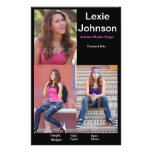 """One Side HeadShot Comp Card For Models or Actor 5.5"""" X 8.5"""" Flyer"""