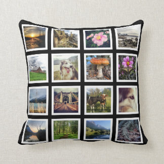 One Sided 16 Instagram Photos Grid Throw Pillow